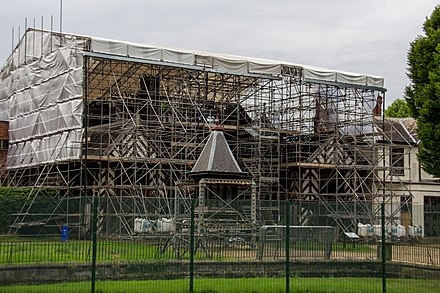 Wythenshawe Hall in August 2016, with protective scaffolding and the tower removed Wythenshawe Hall August 2016 012.jpg