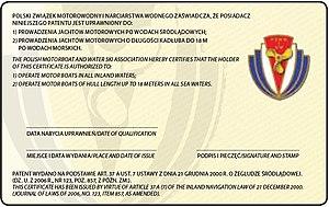Motorowodny sternik morski Chorwacja - wzór patentu (rewers)