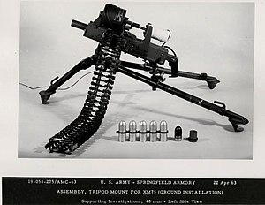M75 grenade launcher - The ground-based XM75 grenade launcher on a heavy tripod mounting.