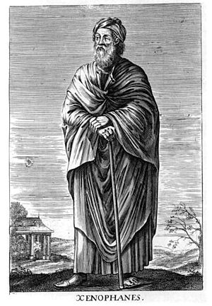 "Pandeism -  Physicist and philosopher Max Bernhard Weinstein wrote that 6th century BC philosopher Xenophanes of Colophon spoke as a pandeist in stating that there was one god which ""abideth ever in the selfsame place, moving not at all"" and yet ""sees all over, thinks all over, and hears all over."""