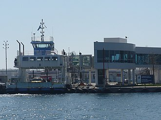 Toronto Island ferries - A ferry docked at the Island Airport Dock.