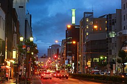 Downtown Yamagata, on the Yamagataekimae Ōdōri (Prefectural Road 16)
