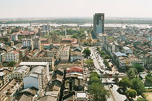 Panorama of Yangon looking south towards the river