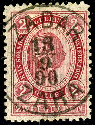 Postage stamps and postal history of Croatia - Austrian stamp used in Zadar