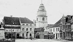 Sulęcin - Main square view on postcard, 1905