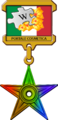 """ 13 - ITALY - Italian wikipedia barnstar of graphics - wikioscar of portal cosmetics - orange flowers and puzzle.png"