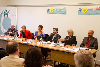 Humanists UK - BHA supporters, including Andrew Copson and Polly Toynbee, taking part in a 'No Prayer Breakfast' event at the Labour Party Conference in 2012