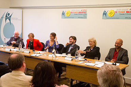 BHA supporters, including Andrew Copson and Polly Toynbee, taking part in a No Prayer Breakfast event at the Labour Party Conference in 2012