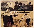 Émile bernard, la mietitura, zincografia con acquerello, 1889.jpg