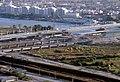 075R14181080 Donauturm, Blick vom Donauturm, Handelskai, Bau der Reichsbrücke, Ersatzbrücken, Zu diesem Zeitpunkt gab es 5 Brücken nebeneinander - neue Reichsbrücke -. Baubrücke.jpg