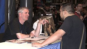 Mike Carey (writer) - Carey at the DC Comics booth at the New York Comic Con, 10 October 2010.