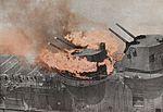 127 mm twin turret burning aboard USS Franklin (CV-13) on 19 March 1945.jpg