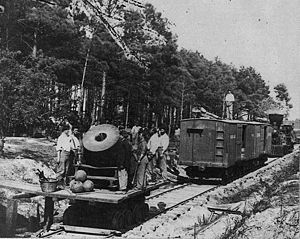 History of rail transport in the United States - A mortar mounted on a railroad car used during the Civil War, 1865.