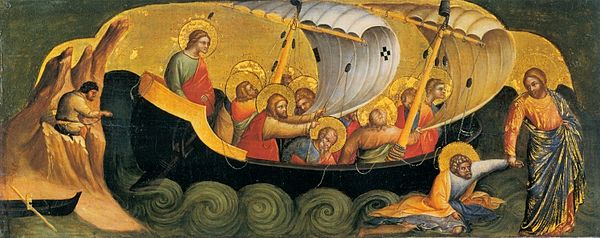 Walking on water, by Veneziano, 1370 16 Lorenzo Veneziano, Christ Rescuing Peter from Drowning. 1370 Staatliche Museen, Berlin..jpg