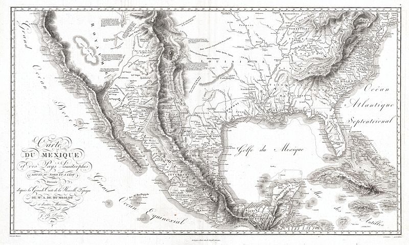File:1811 Humboldt Map of Mexico, Texas, Louisiana, and Florida - Geographicus - Mexique-humboldt-1811.jpg