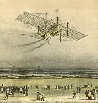 Aerial steam carriage - The Henson Aerial Steam Carriage of 1843 (imaginary representation for an advertisement).