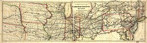 Pittsburgh, Cincinnati, Chicago and St. Louis Railroad - 1868 map of the Columbus, Chicago and Indiana Central Railway