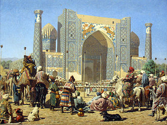 Triumphant crowd at Registan, Sher-Dor Madrasah. The Emir of Bukhara viewing the severed heads of Russian soldiers on poles. Painting by Vasily Vereshchagin (1872). 1872 Vereshchagin Triumphierend anagoria.JPG