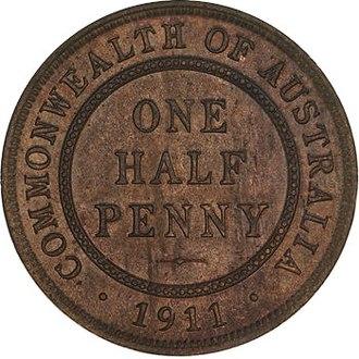 Coins of the Australian pound - Image: 1911 Australian Halfpenny Reverse