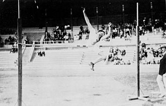 Athletics at the 1912 Summer Olympics – Men's high jump - Richards on the way to win the gold medal.