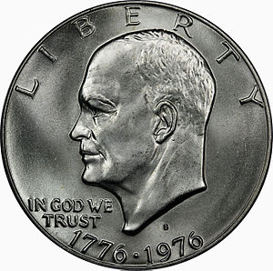United States Bicentennial coinage - The Eisenhower dollar, with the double date 1776–1976