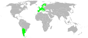 1st Chess Olympiad - Competing countries (in green) of the 1st Chess Olympiad.