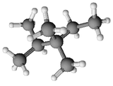 Ball and stick model of 2,3,3-trimethylpentane