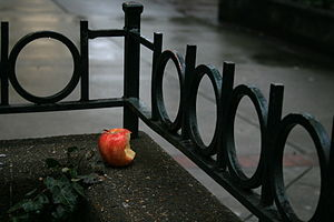 A partially eaten apple on Broad St on a rainy...