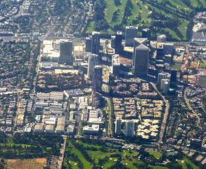 Century City, Los Angeles - 2009 aerial view of Century City; Fox Studios occupies the lower left quadrant