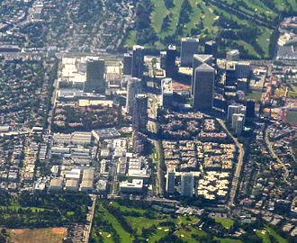 Century City, Los Angeles - 2009 aerial view of Century City; Fox Studios occupies the lower left quadrant