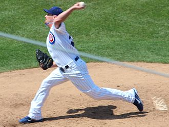 Travis Wood - Wood pitching for the Chicago Cubs in 2012