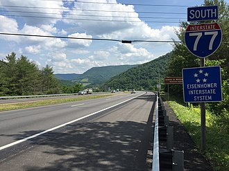Interstate 77 in Virginia - View south along I-77 just south of the East River Mountain Tunnel in Bland County