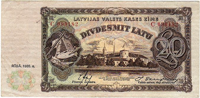 20 latu Latvia 1935 avers