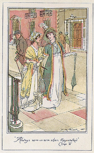 Northanger Abbey - Isabella and Catherine walking arm and arm in an illustration by H. M. Brock from a 1904 edition of the novel