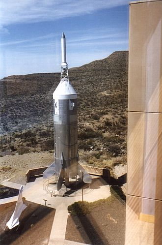 New Mexico Museum of Space History - A Little Joe II in the museum's rocket park, viewed from the museum building.
