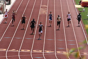 400 metres - The closing stages of a men's 400 m race