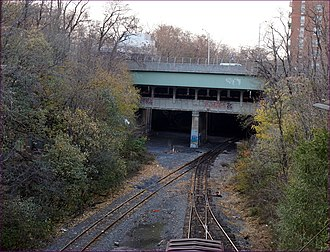 BMT Fourth Avenue Line - This is the Fourth Avenue Line Bridge over the Long Island Rail Road's Bay Ridge Branch. This bridge has space for two additional trackways.