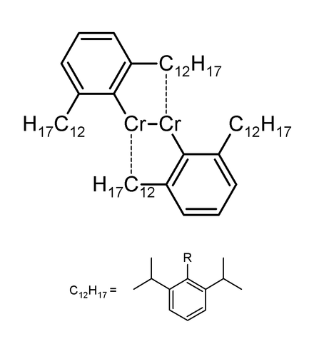 Chromium compound determined experimentally to contain a Cr-Cr quintuple bond 5-fold chromium.png
