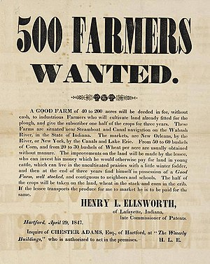 Henry Leavitt Ellsworth - Broadside advertising sale by Ellsworth of parcels of his western lands, Lafayette, Indiana, 1847