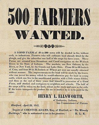 Lafayette, Indiana - Broadside advertising sale of 200-acre farms, Lafayette, Indiana, 1847