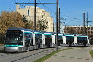 Île-de-France tramway Line 6 - Translhor STE6 in transit at Vélizy.