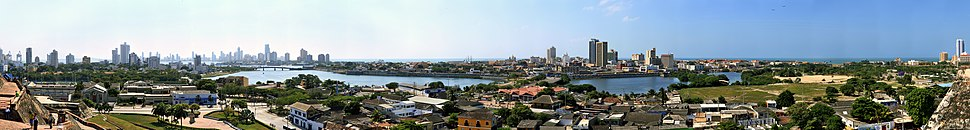 Panorama of Cartagena from the San Felipe de Barajas Fort, in the year 2008.