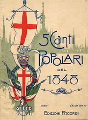Suona la tromba - Cover of the 1898 Ricordi anthology, 5 Canti Popolari del 1848