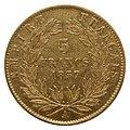 5 francs or, Napoléon III, 1857, pile.jpg