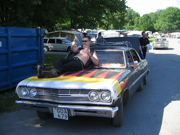 60's car, unknown model and a raggare at Power Big Meet 2005.jpg