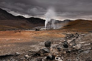Geothermal power in Chile - 60-Meter high artificial fumarole, September 27, 2009