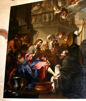 Stefano Maria Legnani - Legnanino, Augustinus washes Jesus' feet. San Marco church, Milan.