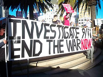 9/11 Truth movement - A 9/11 Truth movement protest sign, October 2009