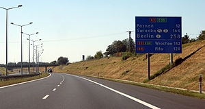 European route E30 - A2/E30 near Poznań Komorniki interchange