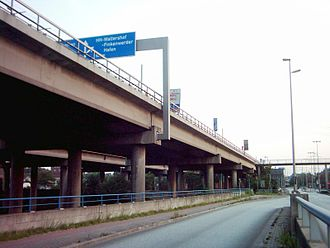Transport in Hamburg - Elevated Bundesautobahn 7 near the exit Waltershof